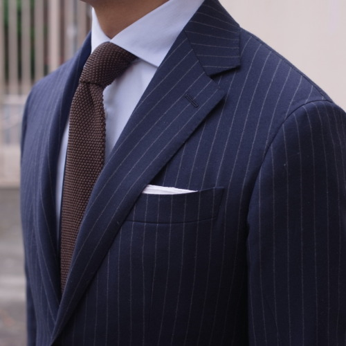 Can you feel the crunch of my knit tie?   Details | Suit - P Johnson in Ariston wool/cashmere for GW | Pocket Square - Drake's Irish linen | Shirt - P Johnson in Thomas Mason fine pique for GW | Tie - E. Zegna * WTF happened to summer! I'm pulling out winter suits  stoneleighgallery:  Daily Guido - as I mentioned yesterday, Sydney is bizarrely COLD. I even found my daughter scavenging for her winter clothes this morning.