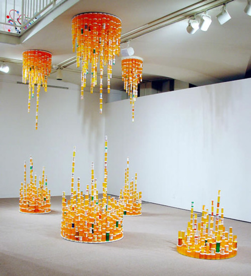 "Jean Shin: ""Chemical Balance III, 2009"" Prescription bottles, mirror and epoxy, fluorescent lights"