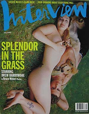 Drew Barrymore & Jamie Walters, 1992 a 17 year old Drew Barrymore, poses nude for the cover of the July issue of Interview magazine with her then-fiancé, actor Jamie Walters