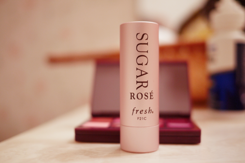 "Sugar Tinted Lip Treatment in ""Rose"". This has definitely been ""Treat Yo Self"" month."
