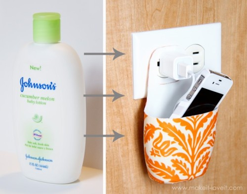 storagegeek:  Holder for Charging Cell Phone (made from lotion bottle) | Make It and Love It C'mon, you know you are going to raid your bathroom for a mostly empty bottle right now!