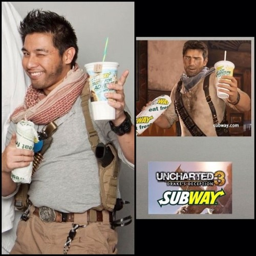 My #Halloween #costume was #Subway #NathanDrake from #Uncharted! Sic Parvis Magna! @naughtydog #uncharted3 #ps3 #cosplay #videogames #drake #naughtydog #gaming #awesome #epic #betterlatethannever  (Taken with instagram)