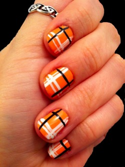 Plaid!China Glaze, Peachy Keen *better lighting here**paint-edited background =P