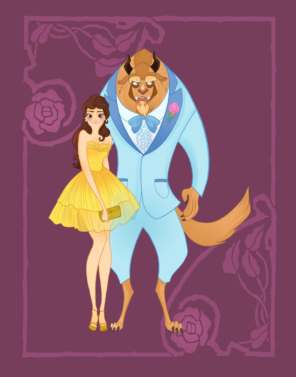 "fairytalemood:  ""Disney Prom - Beauty and the Beast"" by spicysteweddemon"