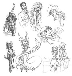Miscellaneous sketches of my original characters from Discretional Valor.