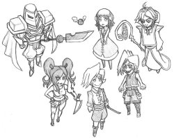 After playing Disgaea 4, I felt compelled to draw some of my characters as though they were part of a strategy RPG. I tried to do something a little more like Ogre Battle 64 than Nippon Ichi. I swear, Ogre Battle 64 had some of the coolest character art of any game I have ever played!
