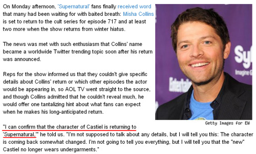 "ofdarklands:  boazpriestly:  ""I can confirm that the character of Castiel is returning to 'Supernatural,'"" [source]  WILL HE BE NAKED THEN.  I HOPE TO GOD HE'S HUMAN."