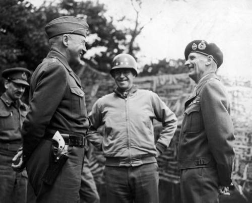demons:  Patton, Bradley, and Montgomery sharing a laugh (lol no) somewhere in the ETO, July 1944