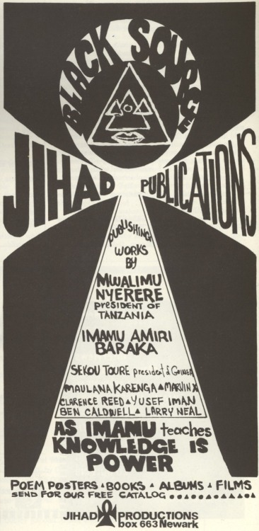 An advertisement for Jihad Publications, scanned from issue #5 of Black Theatre: A Periodical of the Black Theatre Movement, Harlem, New York, 1971.