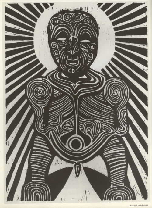 A woodcut by Ademola Olugebefola, scanned from issue #5 of Black Theatre: A Periodical of the Black Theatre Movement, Harlem, New York, 1971.