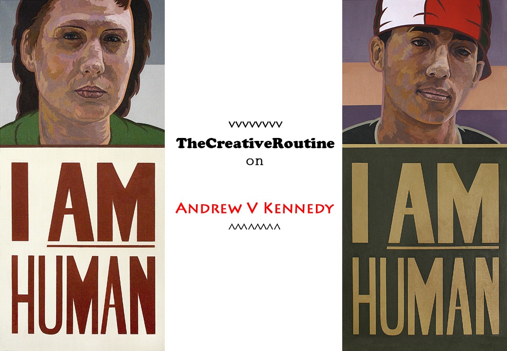 "Artist Andrew V Kennedy Andrew V. Kennedy is a 30-something, Brooklyn artist of African American and Irish descent. I honestly can't say that I recall how I came across his work; my guess is the venerable Bomb Magazine. If not that, then through some other serendipitous Internet musing. In any case, Kennedy's work is the painting that now serves as my banner. I promised to tell you about him last Friday, but time got away, as it often does. Tuesday it is then! Better late than never.  andrew v kennedy One might almost get tempted to call Kennedy's work conceptual art, because just as much thought goes into the concept behind each piece as does into the visuals. AVK's mission statement is not one, but four, fairly long essays on different, contemporary American political issues. On his website, essays range from topics about Middle Eastern politics, American military alliances, economic failure, racism, and Obama. And you see the result of this commentary in his 6 foot paintings and graphite drawings.  2008, 2010, oil on canvas, 54 x 33; about obama's rise.    9-11 Name Location, 2004, charcoal and watercolor on paper, 44 x 30; on sept. 11 terrorist attacks  Kennedy's large works carry the weight of his messages. They're intimate portraits of Americans, and humans in general, often weighed down by somber expressions. The way his brush strokes and heavy graphite lines contour the shapes of his subjects echo the important messages they accompany: ""I AM Human"" and ""I Want Work NOW!!"". These reflections of the ""average American"" cry are then presented to echo the aesthetic of political propaganda and civil rights campaign posters, populous rallying banners.  It's smart art too. For Kennedy to deliberately choose each portion of the package that composes his art as he does: the political and socially conscious theories, the heavy graphite and somber brush strokes, and the propaganda-like imagery is nothing short of genius.    Kennedy grew up in Montclair, New Jersey. It says on his site that he ""has always maintained a steady interest in history, politics, and sociological issues."" He graduated from RISD in 2002 and is currently getting his MFA at Brooklyn College. You can check out his art here.   veteran of the bulge, 2001, oil on canvas, 72 x 44; on military politics and veteran affairs"