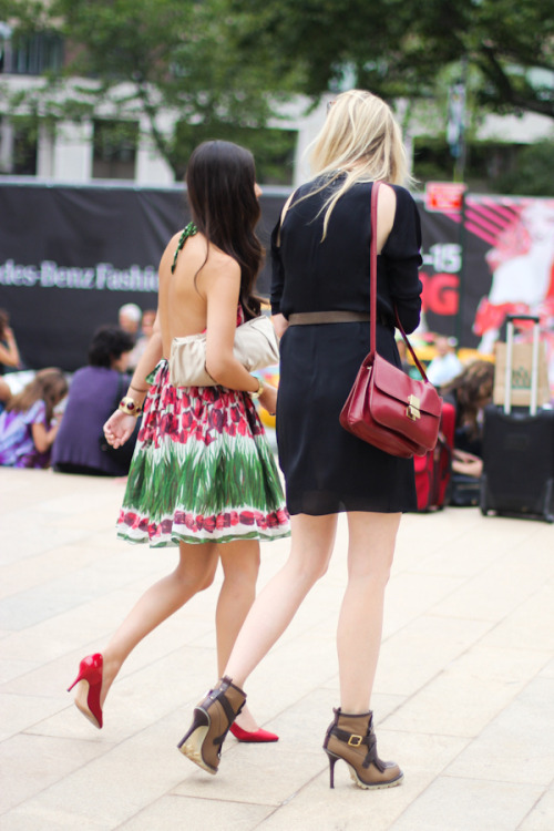 chicago-street-style:Candice Lake and Peony Lim chatting at New York fashion week, September 11, 2011.