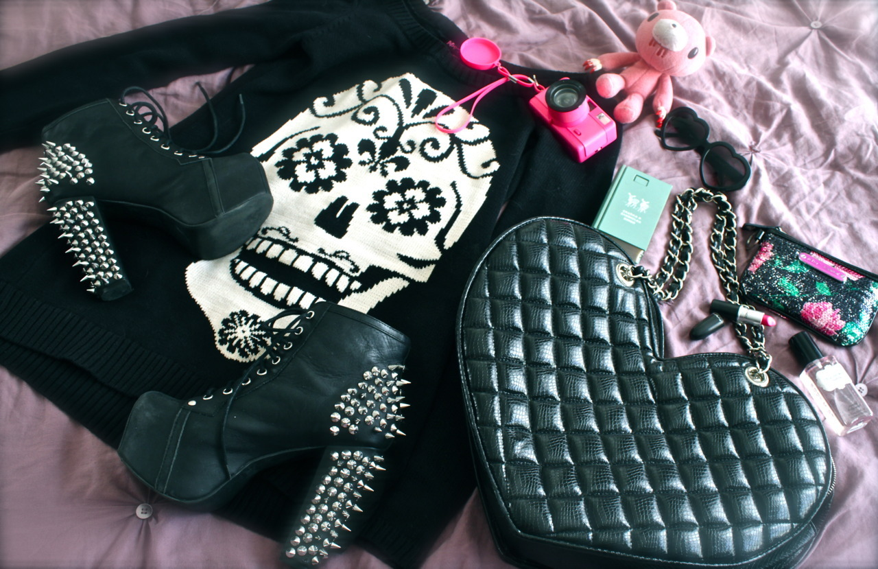 My late Fall essentials. Betsey Johnson sweater dress, my new favorite spiked Litas, a patent purse, bright pink MAC lipstick, Sexy Little Thing body spray, and a camera to travel with!  I am so excited because I am going to The Madonna Inn tomorrow to check it out for a short film I will be shooting there! I plan to travel comfortably in my new Betsey sweater and take lots of photos! I will begin to document a rather exciting adventure! xoxo Naomi Christie