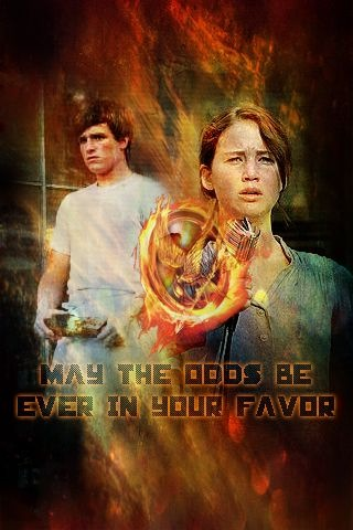 "Hi ! Here again, with an Hunger Games manip' !  ""May the odds be ever in your favor""  iPhone size You know how it works, right ? ;)  So, you can DL it, use it, reblog, but give credits !  No copyright infringement intended, of course.  Textures, photos, patterns, etc. belong to those who made them. Only made the best out of it ;D  (Of course,) it's optimized for the lock screen ! :)   You can always ask me a wallpaper, dp, iPhone background, etc., & even give me directives such as the pic you want, color, size, etc. !  I've got one incoming. I think I'll post it this week. HP one :)  Love,  B."