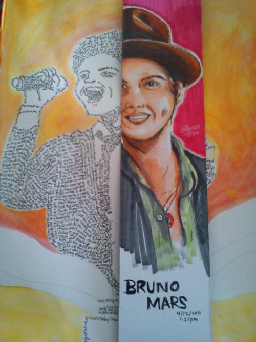 "I've been busy working out my final project about Bruno Mars painting. O_o"" This is just some idea, used with markers. Wish me luck! :)"