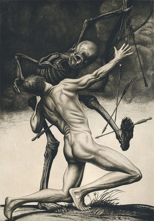 Death struggle ~ Richard Müller (Austrian 1874-1954) Etching, 1913 via