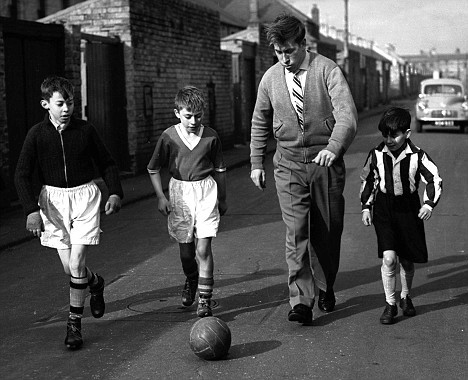 filmmonitor:  Bobby Charlton, aged 20, plays ball with local kids in his hometown Ashington after surviving the Munich air disaster.