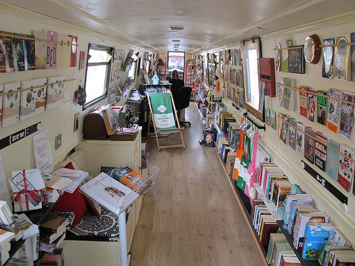 fogliash:  The Book Barge travels around the UK, transporting its book-trade from city to city, via old canals and waterways.