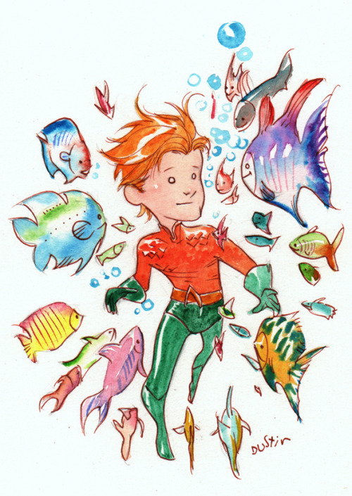 Dustin Nguyen did an adorable Aquaman with fishiessss! marcusto:  Dustin Nguyen Aquaman :)