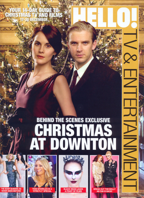 The current issue of Hello magazine, has a large feature on Downton  Abbey, including behind the scenes photos and interviews from the  Christmas Special for the Christmas TV guide.  Thanks to Lorna for the  scans which have been added to the galleries.
