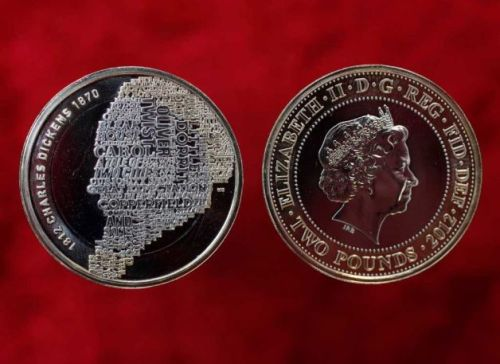 A Dickens currency? All the more reason to visit London!   timesunion:    New Charles Dickens coin honors author This picture made available by Britain's Royal Mint taken Nov. 9, 2011, shows the new 2 pound sterling coin with the Queen's head, right, and the reverse with the image of Charles Dickens, made up from some of the titles of his most famous novels, which has been created to celebrate the 200th anniversary of his birth on 7 February 1812. (David Parry / AP)Read more: http://www.timesunion.com/news/article/New-Charles-Dickens-coin-honors-author-2347536.php