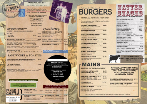 NATTERJACKS MENU… Our normal daytime menu, we encourage booking to give you our quickest and most efficient service. Food Served: Mon-Thurs 12pm - 3pm Fri-Sat 12pm - 7pm Sun 12pm - 6pm