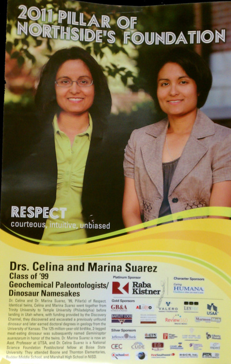 Marina Suarez, assistant professor of geology, and sister Celina Suarez are recognized as 2011 Pillars of Character in the Northside Independent School District. The sisters graduated from Marshall High School in 1999. Together the Suarez sisters represent the pillar of respect, and this poster hangs in 6,000 classrooms throughout the district.