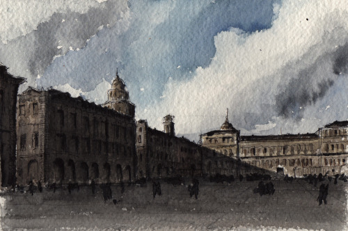 piazza castello in watercolour