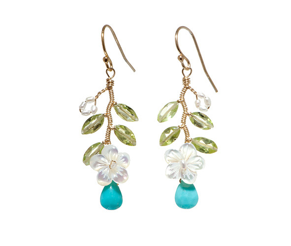 We can't get enough of these Plumeria Vine Earrings from Shop in the Garden! These handmade earrings are inspired by Hawaiian botanicals, made with mother of pearl, turquoise and peridot, and bound together with gold wire. Can we get a Mele Kalikimaka?