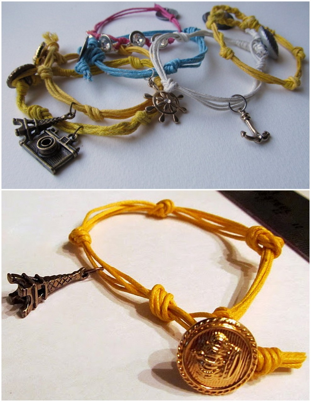 truebluemeandyou:  DIY Charm Bracelet with Button Closure. So cheap, personal and easy to make for gifts. Using braiding cord and charms, combined with a simple button closeure, anyone can do this. This is one of my favorite sites for cheap, doable DIYs that look great! Tutorial at Wobisobi here.  need