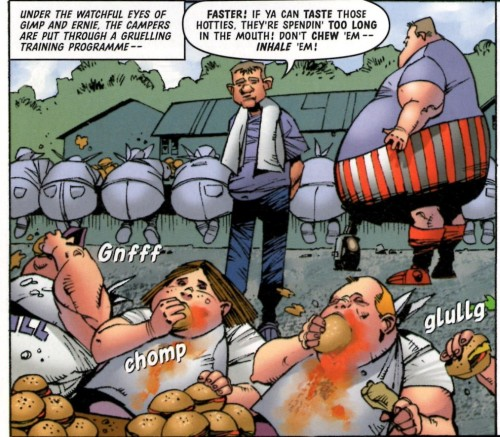 Fat Camp, Mega-City style! From 'The Bazooka', Pt 1, Megazine 4.01.