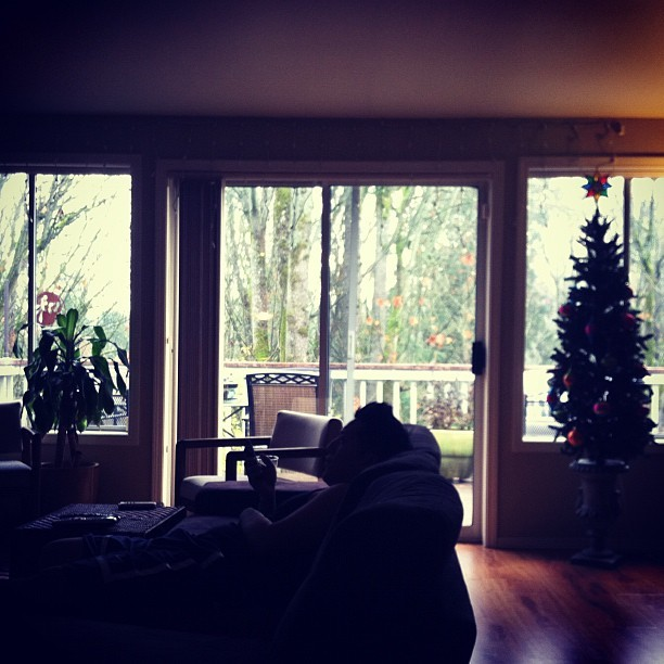 #Tuesday #morning #house #home #christmastree #window #couch #lounging #autumn #winter #hardwood #floor (Taken with instagram)