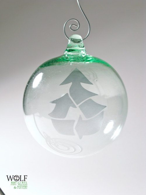 Upcycled Blown Glass Ornament Ball Recycled Bottle Glass Christmas Tree Etch