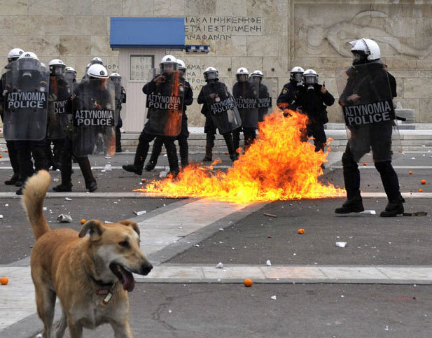 rebeldog:  6 dec 2011, Syntagma, riot cops bombarded with molotovs photo by Louisa Gouliamaki, images sent by @mbensass