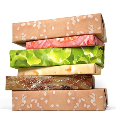 jenbee:  Hamburger wrapping paper? Love it. (via Josh Spear)