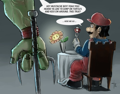 justinrampage:   Mario's turtle stomping days are coming to a quick end, if Raph has anything to do with it. Hilarious mash up by Tumblr artist J.P. Perez. Related Rampage: Batman vs Superman Karma! by J.P. Perez (deviantART) (Facebook) Via: artbyjp