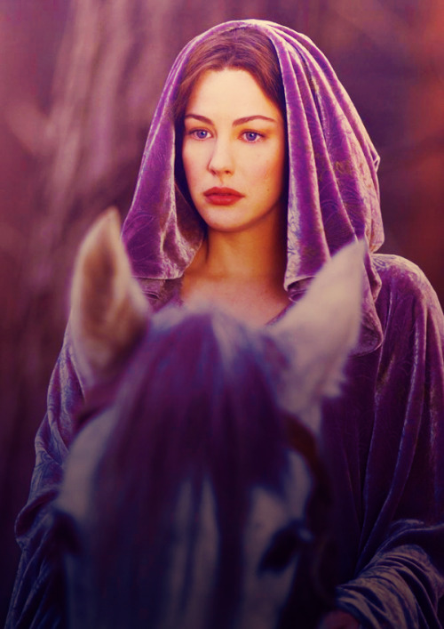 The Lord of the Rings: The Return of the King - Liv Tyler as Arwen wearing a purple jacquard velvet hooded cape.