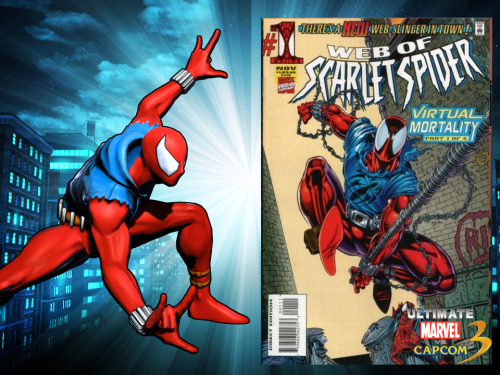 "Spotlight on Scarlet Spider & Cablepool DLC for Ultimate Marvel vs. Capcom 3 on the Marvel BLiP video game blog! And Chris Baker, who runs the blog, wrote a haiku about Scarlet Spider:  Ben Reilly wondered, ""Am I Spidey? Or a clone?"" He fought crime. Then died.  Here's Cablepool:"