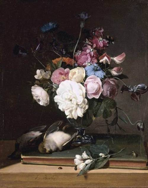 a-l-ancien-regime:  Still-Life of Flowers in a Glass Vase 1790-1795 | Oil on panel | 320 x 270 mm Private collection Louis Léopold Boilly | 1761-1845