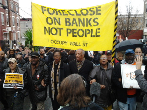 the #OccupyHomes march in Brooklyn today via Josh Harkinson