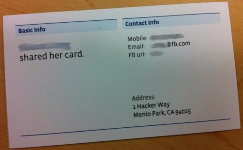 courtenaybird:  The Nerdy Address Of Facebook's New Headquarters? 1 Hacker Way    Hacker Way.  Not Infinite Loop but cool.
