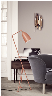 Grasshopper floor lamp and brass wall light