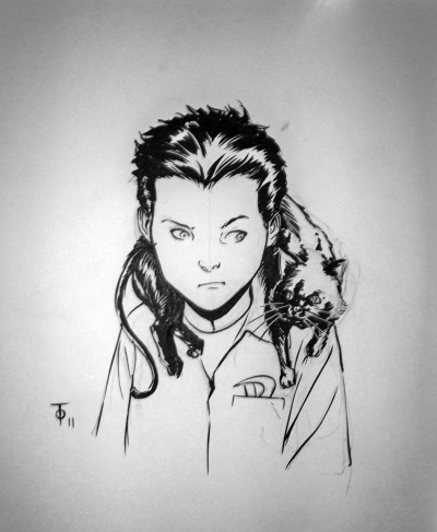 mxghouls:  sketch of damian and a kitty by marcus to
