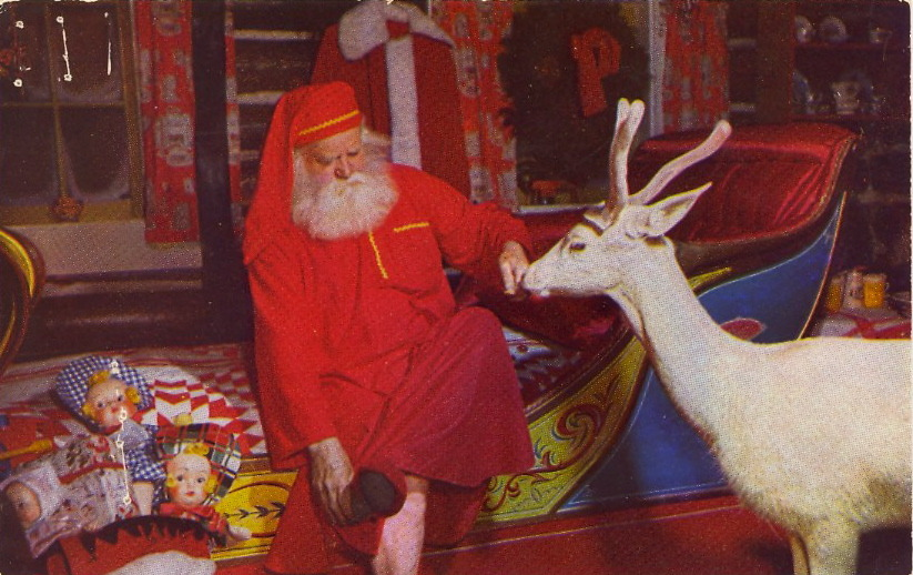 "CAPTION CONTEST—Santa Hits the Hay 12/12/11  7:03 PM: Thank you for your captions! First, here's what's on the verso:  Blitzen says good night to Santa at his North Pole, N.Y. Home.   The winner is Care for the caption: ""Centuries old and I still sleep in a child's bed with a deer. Why me?"" Congratulations, Care To claim your postcard prize, email me at bad.postcards@gmail.com with your choice of postcard from the list below and your mailing address. The RULES:1) MAXIMUM of TWENTY (20) WORDS2) One entry per person3) Please enter your caption in the comments of this post4) Submissions will be accepted until Sunday, December 11 at 8:00 PM, EST The author of my favorite caption will have their choice of one of these original vintage postcards (all previously published on BAD POSTCARDS): 1) WOW! WE ALLIGATORS DO HAVE FUN IN FLORIDA!2) APPLE3) I'M ALL DRESSED UP AND READY TO GO!4) FOSTER MOTHERS of the HUMAN RACE5) BOTTLING BOURBON HAVE FUN and GOOD LUCK!"