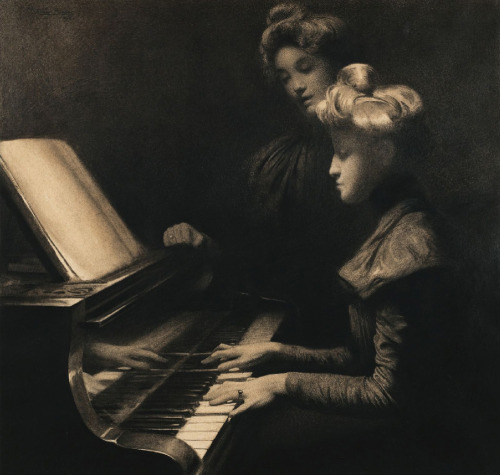julia-loves-bette-davis:  La Leçon de Piano by Firmin Baes (1899)