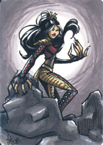 Lady Deathstrike sketchcard commission. 2.5x3.5 inches, ink and marker.