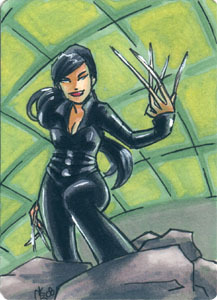A commission for the movie version of Lady Deathstrike. 2.5x3.5 inch sketchcard, ink & marker. Want one of your own? Check out this post.