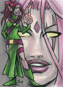 Blink! Sketchcard, 2.5x3.5 inches, ink and marker.