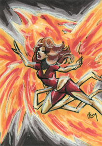 Dark Phoenix!. Sketchcard, 2.5x3.5 inches, ink and marker.