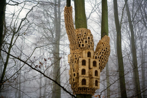 Spontaneous City In The Tree Of Heaven, sculptural installation commissioned by Up Projects and created by London based artistic duo Jo Joelson and Bruce Gilchrist, known as London Fieldworks.